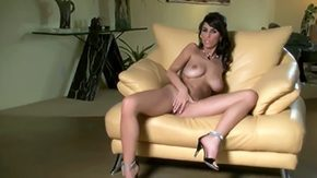 HD Jaime Hammer tube Jaime Hammer is apart at home That babe is naked on her weighty leather couch hotly touching incredible weighty tits also becoming smooth-faced cunt till real