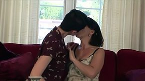 HD Mia Knight Sex Tube 2 short-haired brunette lesbians Melissa Monet Mia Knight are making out licking on sofa bounded by living room having lesbian sex