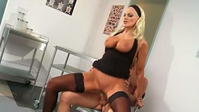Free Brittany Andrews HD porn Bright-haired Brittany Andrews with shaped personage bazookas at intervals leopard printed dress stockings sucks rides hard bat on chair at intervals