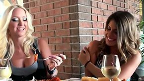 Italian Lesbian HD Sex Tube Blonde girl Molly Cavalli her brunette girlfriend Nikkie Jock are mid Italian restaurant having dinner only one time lesbian