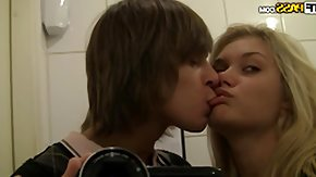 Toilet, Amateur, Babe, Blonde, Blowjob, Couple