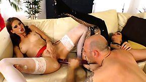 Double, 3some, Babe, Blowjob, Brunette, Dildo