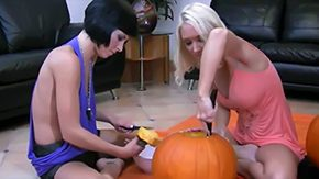 Halloween High Definition sex Movies 2 natural blonde doxies Jayden Molly Cavalli getting ready for Halloween They bought large pumpkin trying to make joy with that