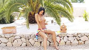 HD Sandy Beach tube Brunette Adria with bulky tits has absolute tanned skin face Chic spreads her legs on sandy beach masturbates her