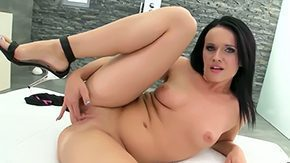 HD Melanie Doll tube Ripened Melanie Doll uses black medium sized strapon in survey of hot orgasms