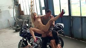 Free Michelle Moist HD porn Magnificent lasses Michelle Moist Shalina Gratifying fucking with lucky biker in garage
