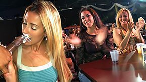 Club Strip, Blonde, Blowjob, CFNM, Clothed, Club