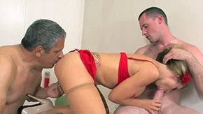 Free Athena Angel HD porn videos Sexy bombshell Athena Angel is giving double blowjob to father son during hardcore threesome sex