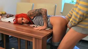 Lexy Coxx HD porn tube German redhead girlfriend gets it on kitchen table amateur babe european from behind fucking gf skinny youthful sex young couple socks tattoo