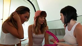 Train, 3some, Dildo, Group, High Definition, Lesbian