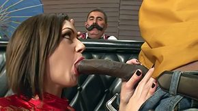 Sarah Shevon High Definition sex Movies Distinguished ebon bull Sean Michaels dressed as cowboy gets his hugely big mammal cock sucked good by brunette hair Sarah Shevon while bartender with reference to mustache is