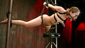 Leather, Ball Licking, BDSM, Bondage, Bound, Brunette