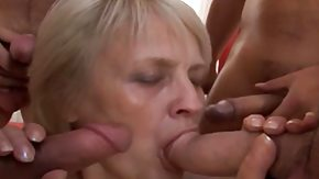 Grandma, Banging, Blonde, Blowjob, Experienced, Gangbang