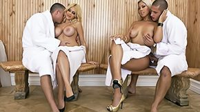 Sauna, 4some, Big Tits, Blonde, Boobs, Foursome